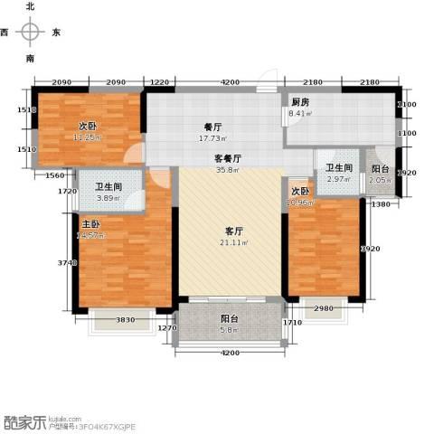 锦绣御景国际3室1厅2卫1厨124.00㎡户型图