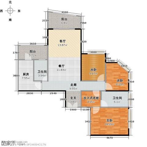东山紫园商业3室0厅2卫1厨127.00㎡户型图