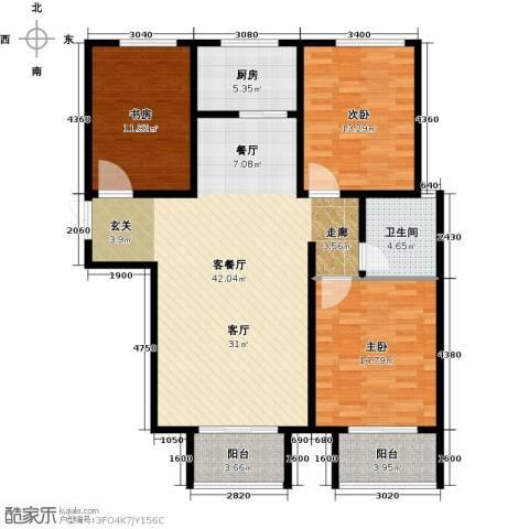 玫瑰湾3室1厅1卫1厨111.00㎡户型图