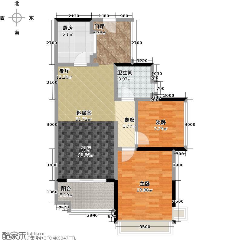 雅居乐锦城79.00㎡三期【花语集】17、18栋-02、03单元户型2室1卫1厨