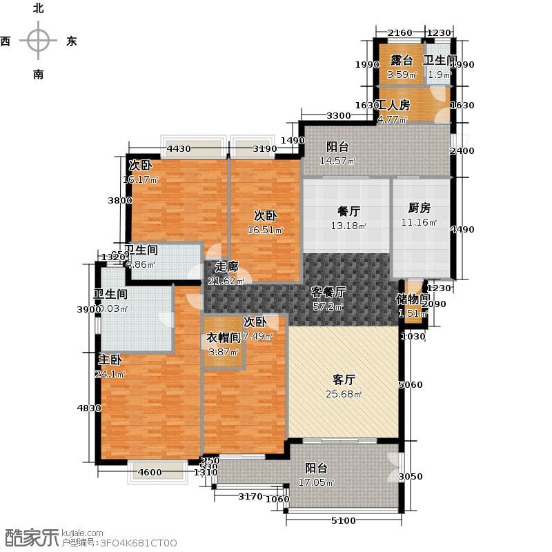 汇景新城225.47㎡E1-D2栋02单元户型4室1厅3卫1厨