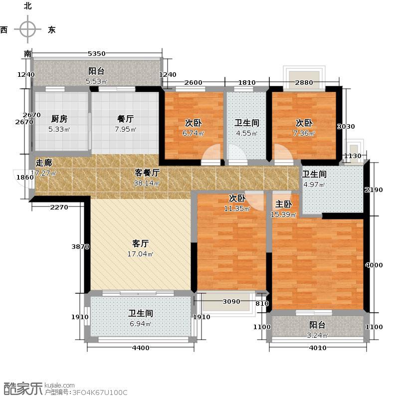 锦绣御景国际143.00㎡24座03单位户型4室1厅3卫1厨