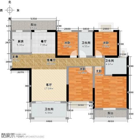 锦绣御景国际4室1厅3卫1厨143.00㎡户型图