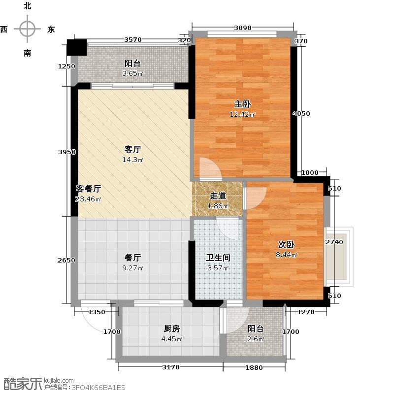 锦绣半岛77.00㎡东区18座04户型2室1厅1卫1厨