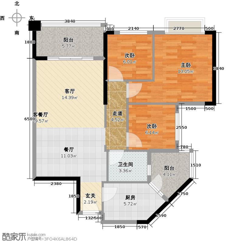 锦绣半岛92.00㎡1座06单位户型3室1厅1卫1厨
