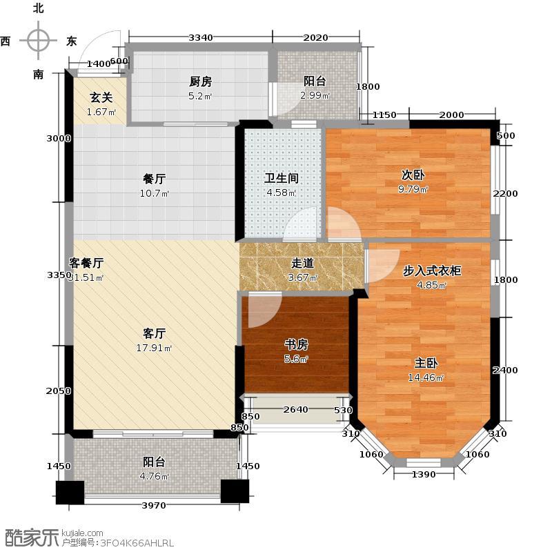 锦绣半岛95.00㎡东区18座05户型3室1厅1卫1厨