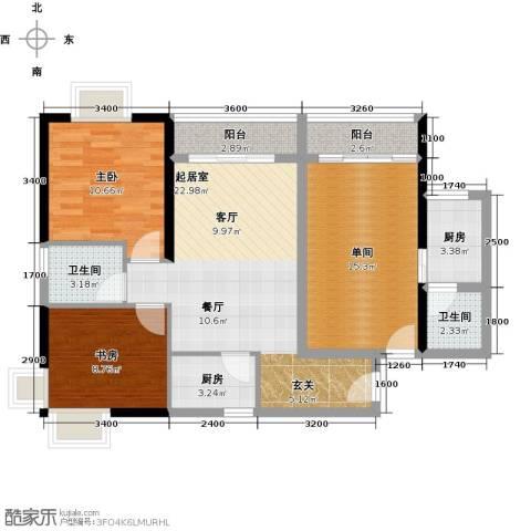 珠光高派国际公寓2室0厅2卫2厨75.32㎡户型图