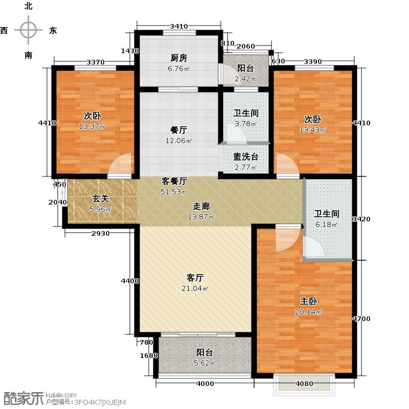 玫瑰湾136.75㎡2号楼d户型3室1厅2卫1厨