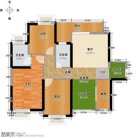 锦龙又一城3室0厅2卫1厨97.00㎡户型图