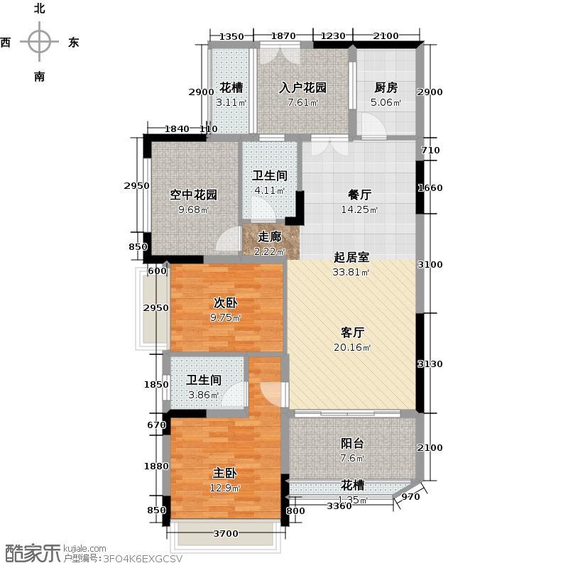 嘉爵园111.00㎡D区高层洋房D1、D2、D3栋02单位户型2室2卫1厨