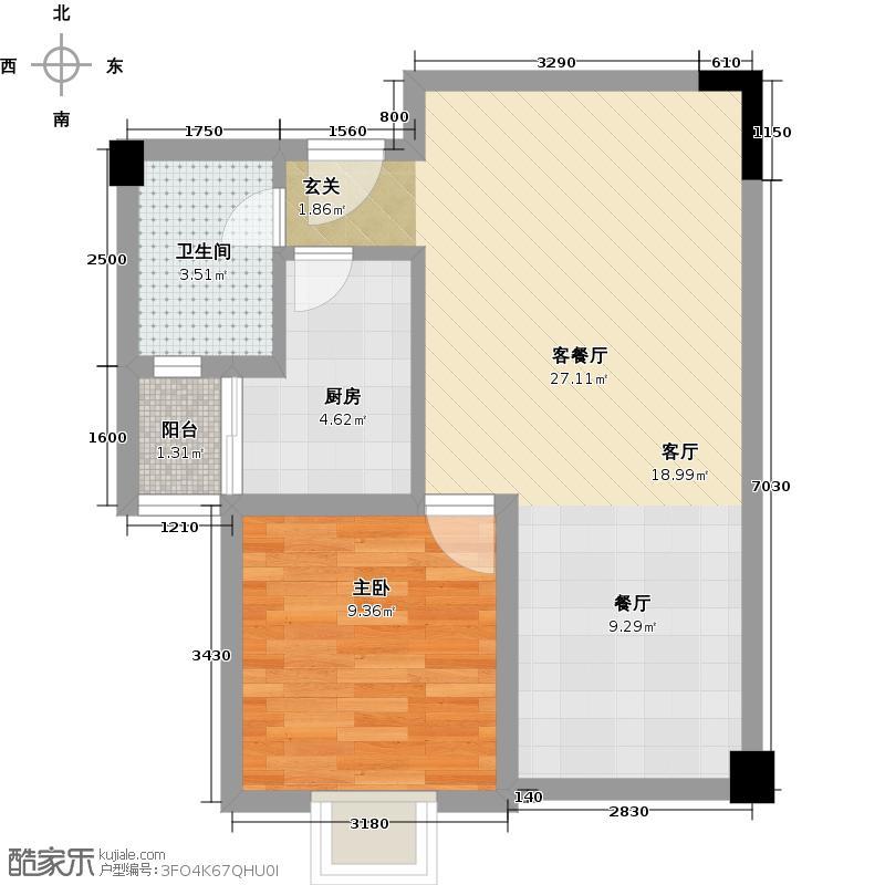 华洲名城尚院63.55㎡一期一批次H2户型1室1厅1卫1厨