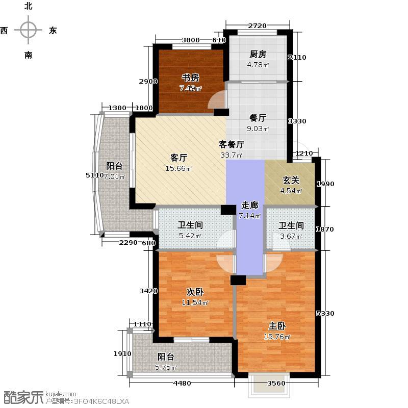 广厦天都城爱尚公寓115.00㎡A5平面图户型3室1厅2卫1厨