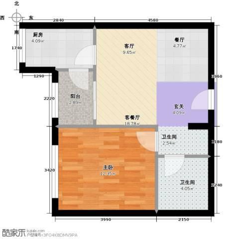 珠江拉维小镇1室1厅1卫1厨58.00㎡户型图