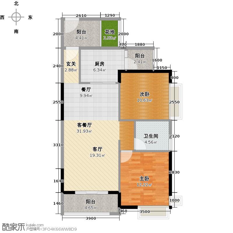 科城山庄85.00㎡A1栋01单元户型2室1厅1卫1厨