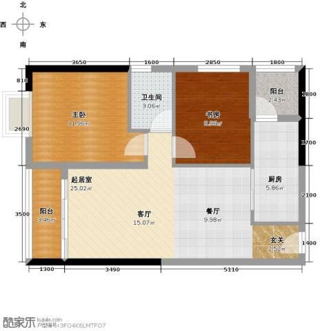珠光高派国际公寓2室0厅1卫1厨89.00㎡户型图