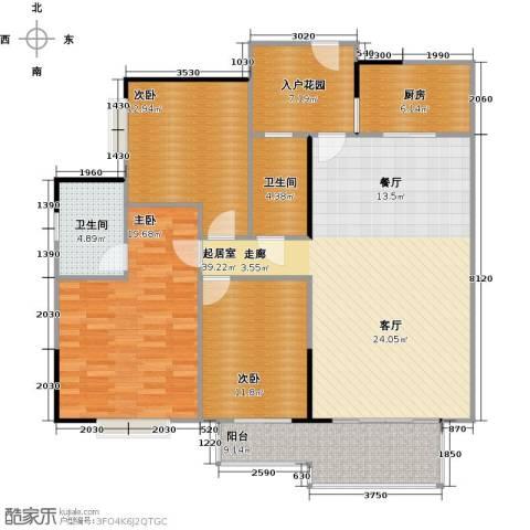 方圆花都小城之春3室0厅2卫1厨155.00㎡户型图