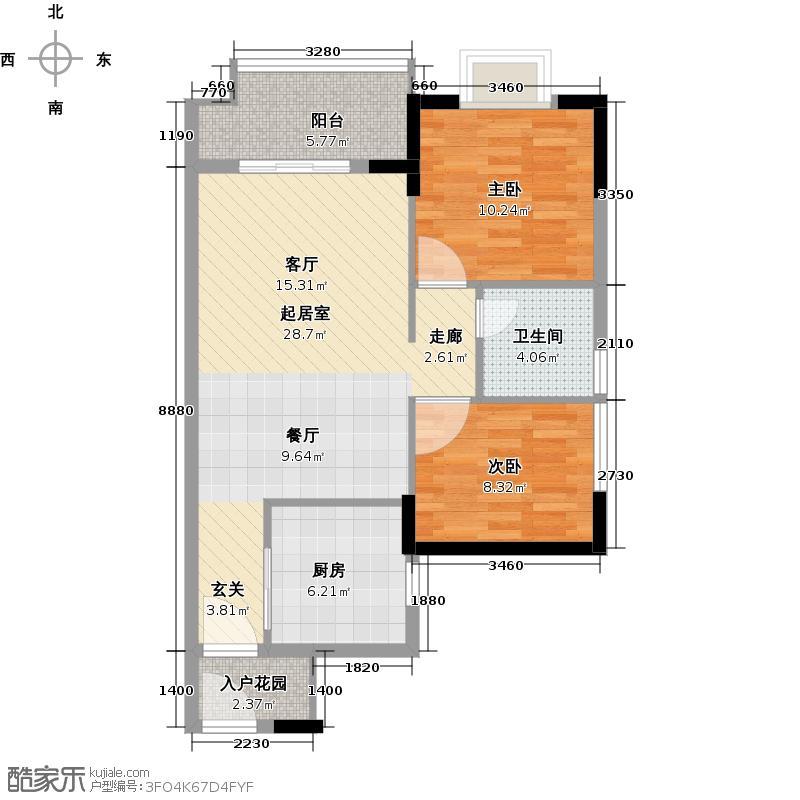 万科东荟城75.00㎡A21-5户型2室1卫1厨