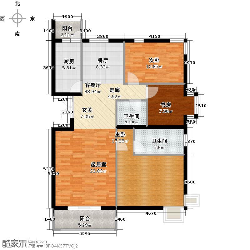 上林溪南区131.00㎡C2户型3室1厅2卫1厨