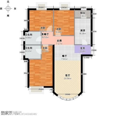 新华联运河湾3室1厅2卫1厨133.00㎡户型图