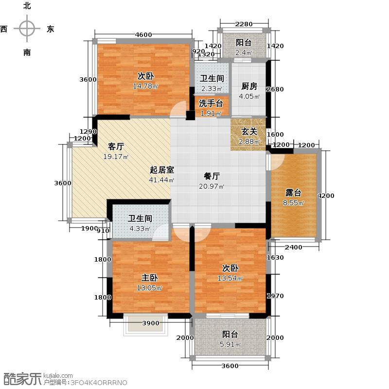 宝业家纺公寓124.99㎡1户型3室2卫1厨