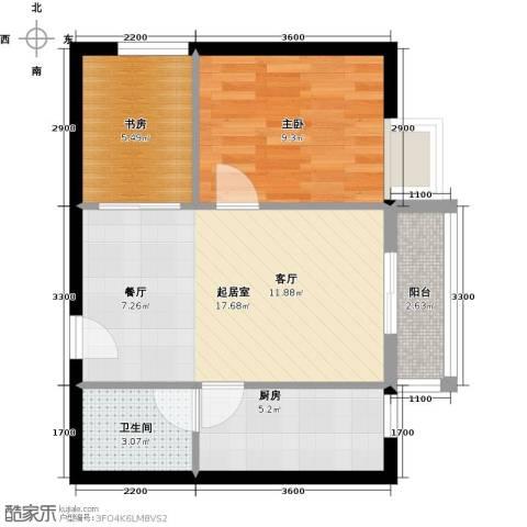 珠光高派国际公寓2室0厅1卫1厨63.00㎡户型图