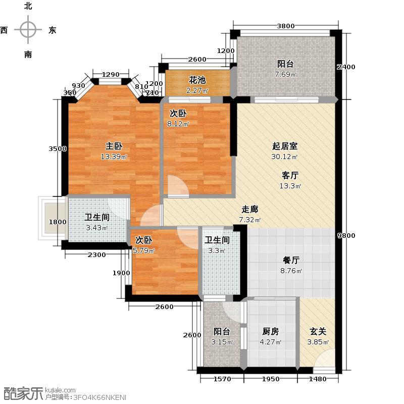 豪利花园101.68㎡三期顺景阁D栋06单元北向户型3室2卫1厨