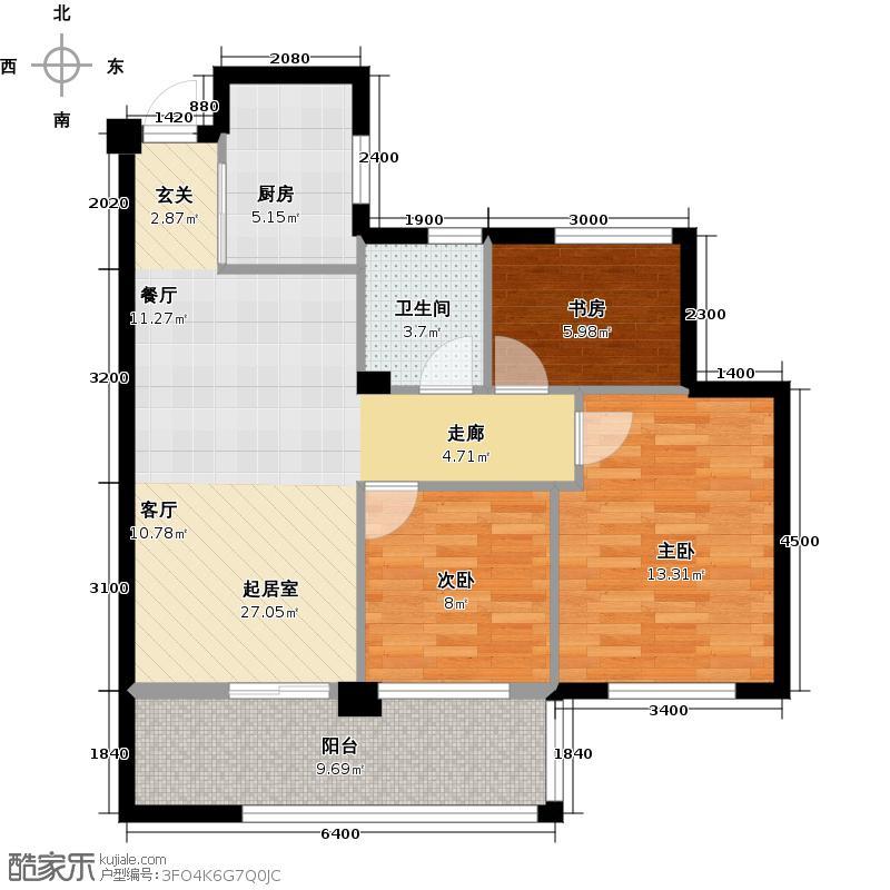 曙光之城89.00㎡11#、13#E3户型2室2厅1卫