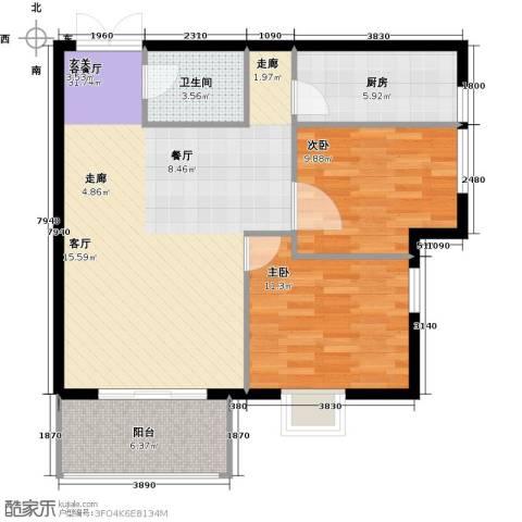 戛纳35号2室1厅1卫1厨89.00㎡户型图