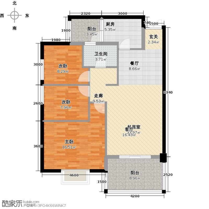 豪利花园104.47㎡祥云阁2-11层B02户型3室1卫1厨
