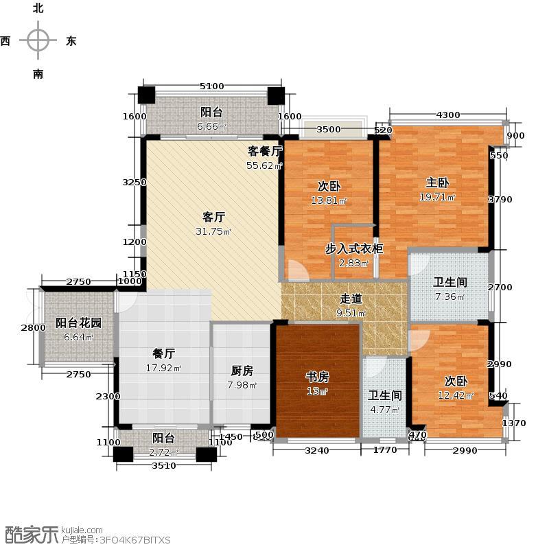 锦绣半岛164.00㎡东区15座01单元户型4室1厅2卫1厨