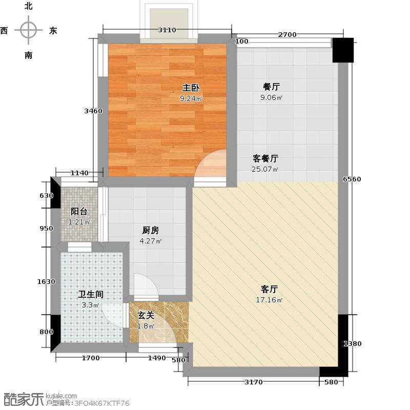 华洲名城尚院63.99㎡一期一批次H3户型1室1厅1卫1厨