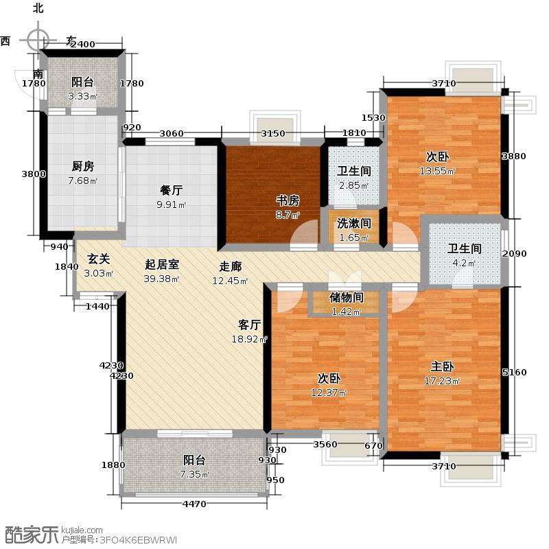 天邑宏御花园163.00㎡8栋G-1双卫户型4室2卫1厨