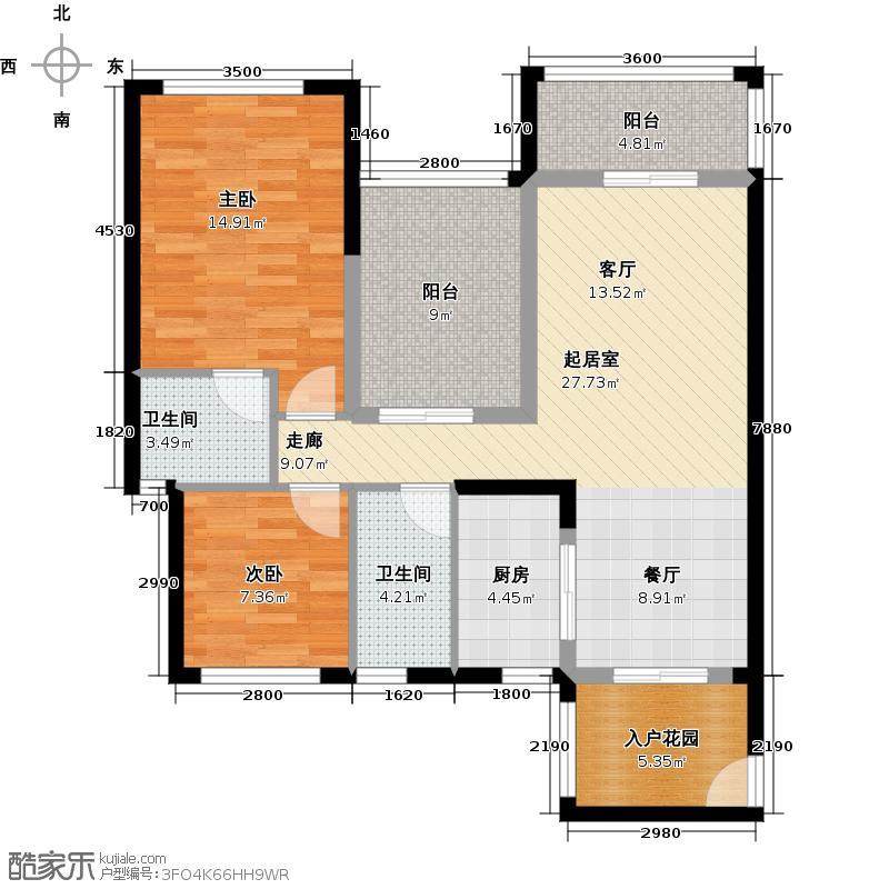 豪利花园93.56㎡豪景阁C栋单位2-13层04单位北向户型2室2卫1厨