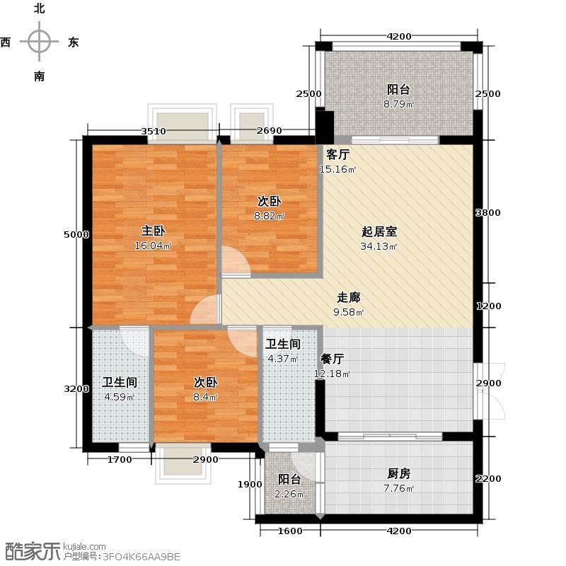 豪利花园116.47㎡祥云阁2-11层B04户型3室2卫1厨