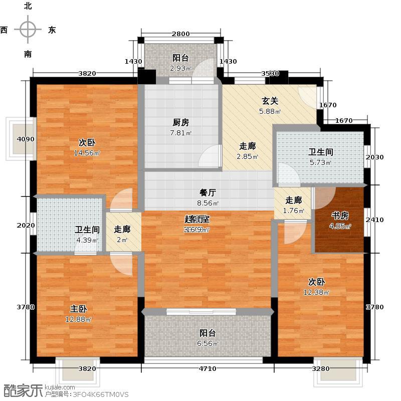 穗和城116.38㎡A栋03单元户型4室2卫1厨