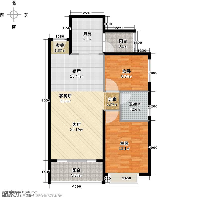 恒大海上夏威夷92.44㎡3、41号楼04户型2室1厅1卫1厨