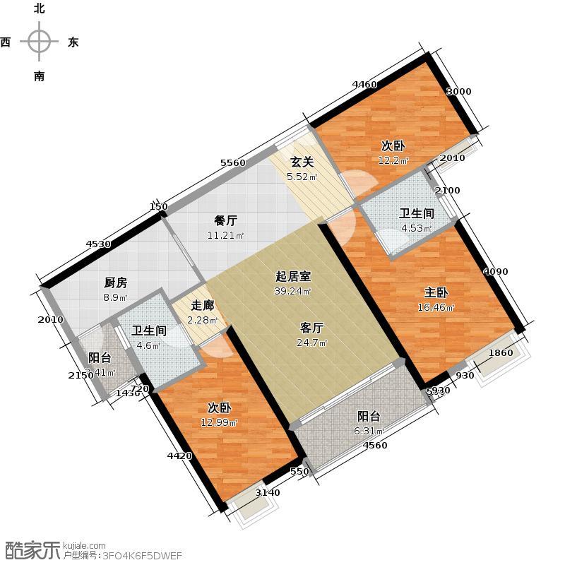保利东江首府125.00㎡洋房组团环府西路4/6/7号01户型3室2卫1厨