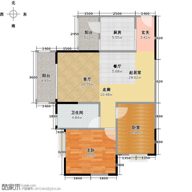 御金沙86.00㎡几米组团二期E2栋01户型1室1卫1厨