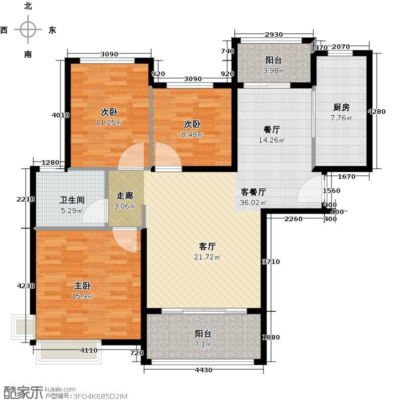 恒大海上夏威夷106.42㎡1、26、46号楼04户型3室1厅1卫1厨