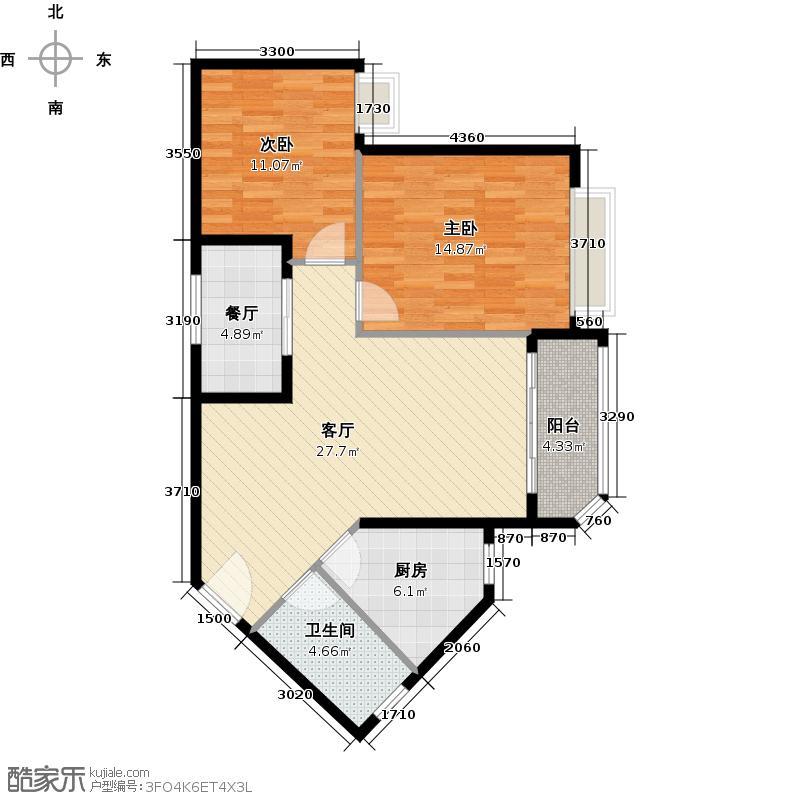 恒大海上夏威夷82.16㎡2、28号楼03户型2室2厅1卫1厨