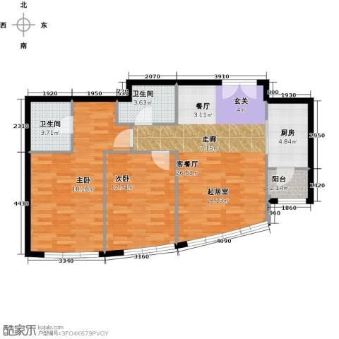 新华联运河湾2室1厅2卫1厨97.00㎡户型图
