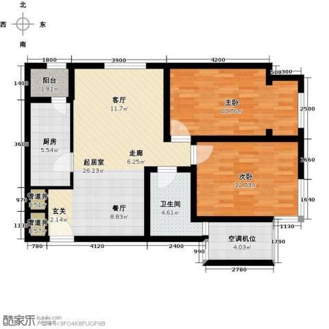太阳星城3期2室0厅1卫1厨93.00㎡户型图
