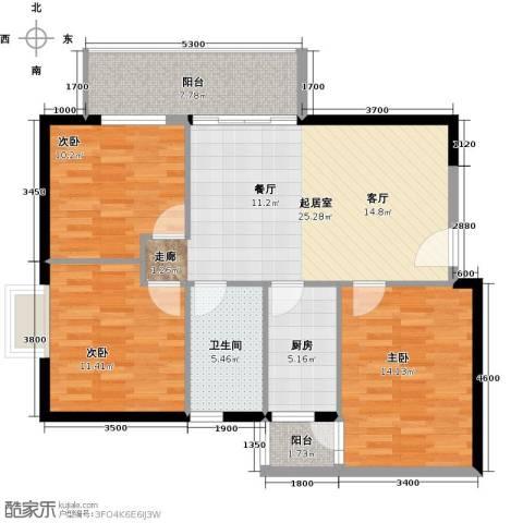江南美景花园二期3室0厅1卫1厨91.00㎡户型图