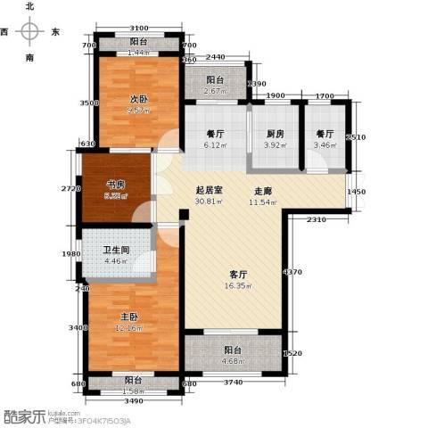 圣联梦溪小镇3室1厅1卫1厨108.00㎡户型图