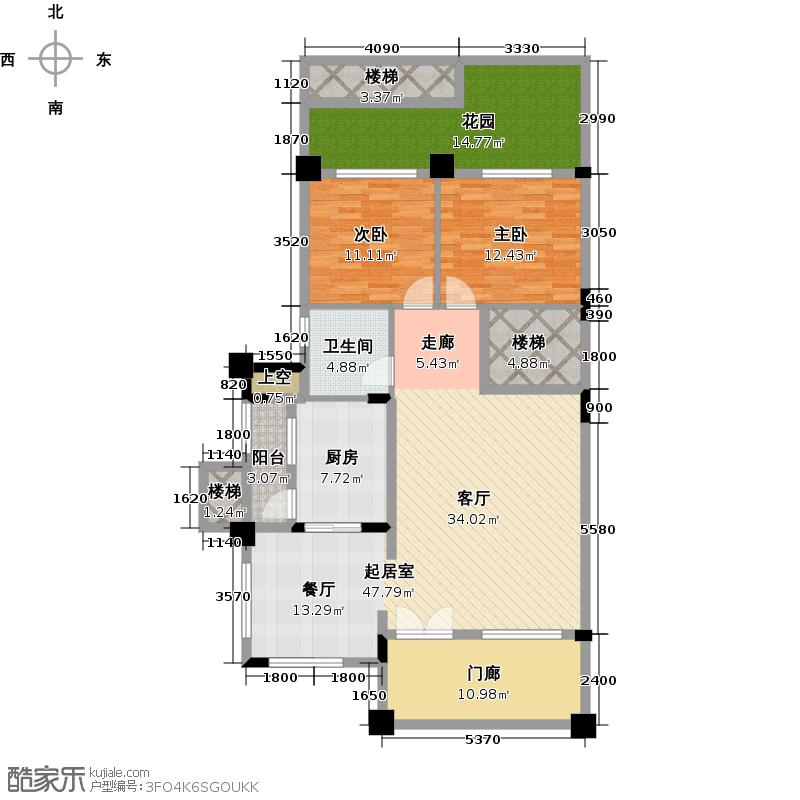 恒大泉都114.01㎡B3-1T花园御墅首层户型2室1卫1厨