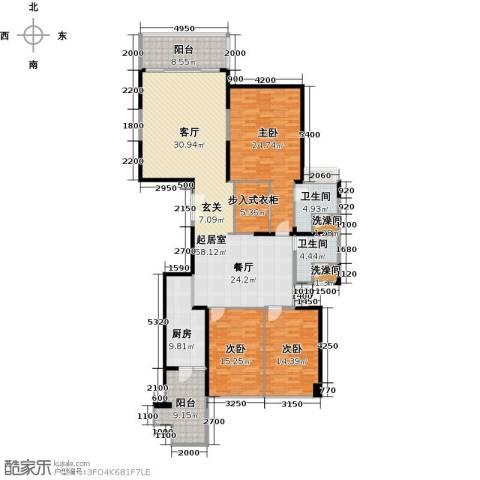 恒大绿洲3室0厅2卫1厨187.00㎡户型图