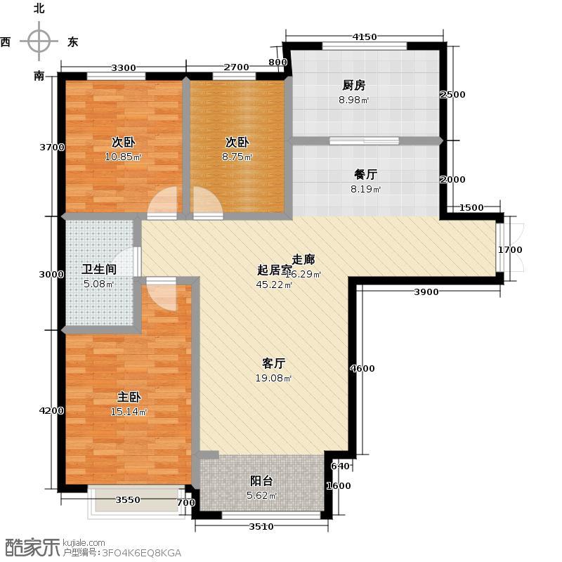博雅园128.94㎡5#楼住宅户型3室1卫1厨