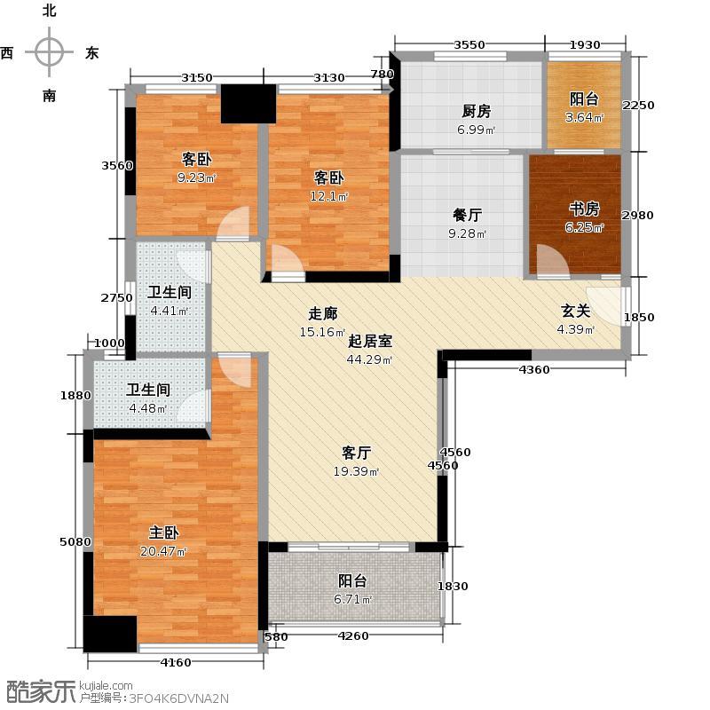 南沙珠江湾134.60㎡C栋01单元户型4室2卫1厨