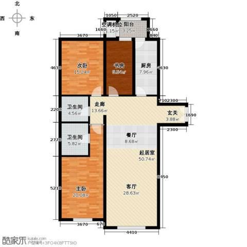 太阳星城3期3室0厅2卫1厨132.00㎡户型图