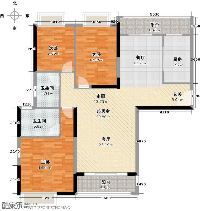 南沙珠江湾134.01㎡B栋03单元户型3室2卫1厨